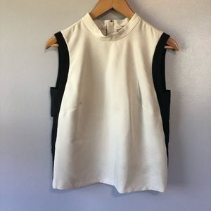 ASOS Crew Neck Sleeveless Cream Black Blouse 6